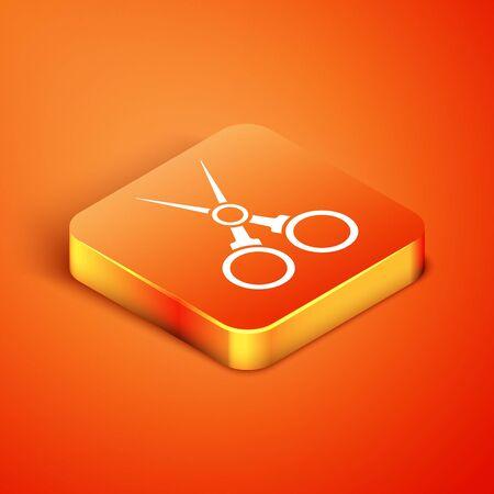 Isometric Scissors hairdresser icon isolated on orange background. Hairdresser, fashion salon and barber sign. Barbershop symbol. Vector Illustration 向量圖像