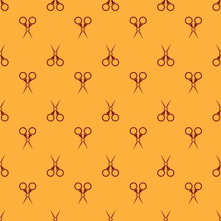 Red Scissors hairdresser icon isolated seamless pattern on brown background. Hairdresser, fashion salon and barber sign. Barbershop symbol. Vector Illustration
