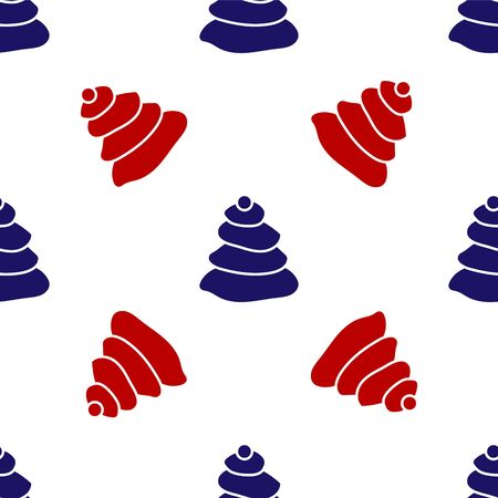 Blue and red Stack hot stones icon isolated seamless pattern on white background. Spa salon accessory. Vector Illustration 向量圖像