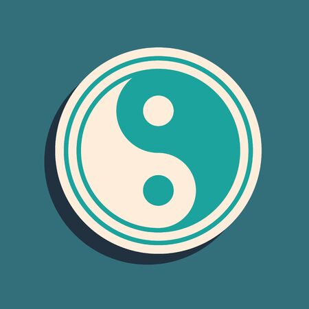 Green Yin Yang symbol of harmony and balance icon isolated on green background. Long shadow style. Vector Illustration