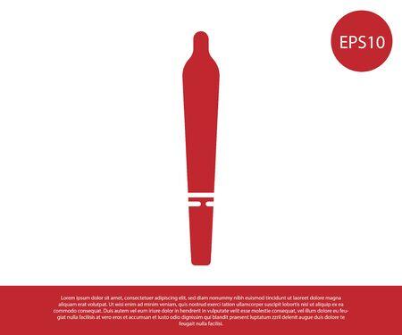 Red Marijuana joint, spliff icon isolated on white background. Cigarette with drug, marijuana cigarette rolled. Vector Illustration Illustration