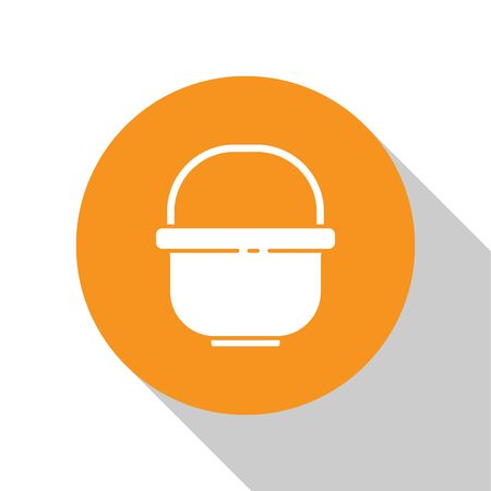 White Camping pot icon isolated on white background. Boil or stew food symbol. Orange circle button. Vector Illustration