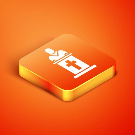 Isometric Church pastor preaching icon isolated on orange background. Vector Illustration Vectores