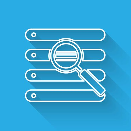 White line Search in a browser window icon isolated with long shadow. Vector Illustration