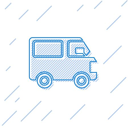 Blue line Delivery cargo truck vehicle icon isolated on white background. Vector Illustration