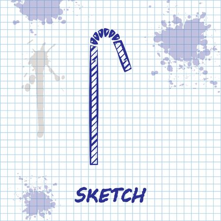 Sketch line Drinking plastic straw icon isolated on white background. Vector Illustration