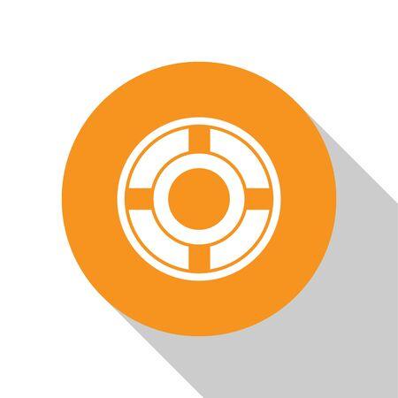 White Ashtray icon isolated on white background. Orange circle button. Vector Illustration