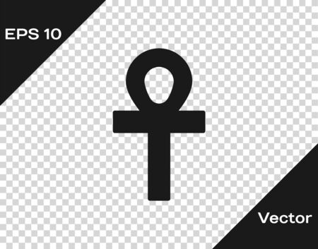 Black Cross ankh icon isolated on transparent background. Vector Illustration