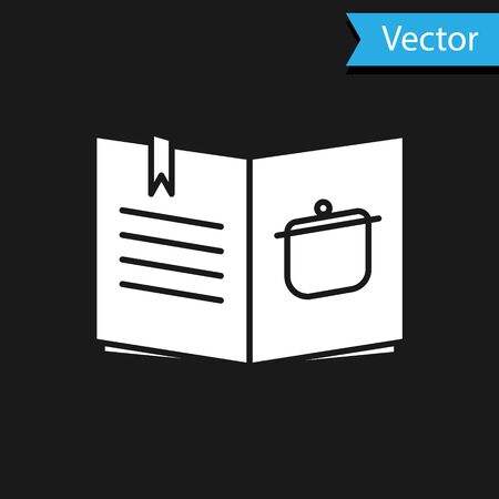 White Cookbook icon isolated on black background. Cooking book icon. Recipe book. Fork and knife icons. Cutlery symbol. Vector Illustration