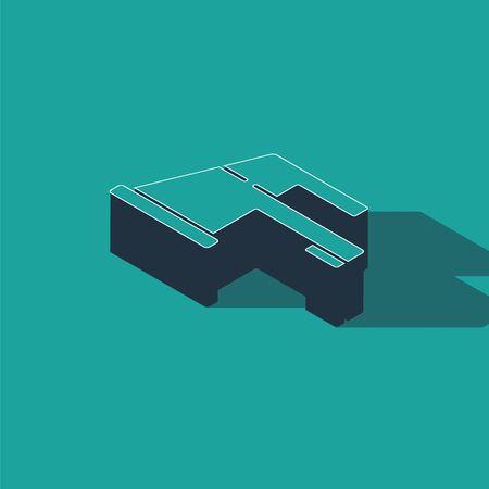 Isometric Water tap icon isolated on green background. Vector Illustration