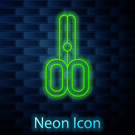 Glowing neon line Scissors hairdresser icon isolated on brick wall background. Hairdresser, fashion salon and barber sign. Barbershop symbol. Vector Illustration 向量圖像
