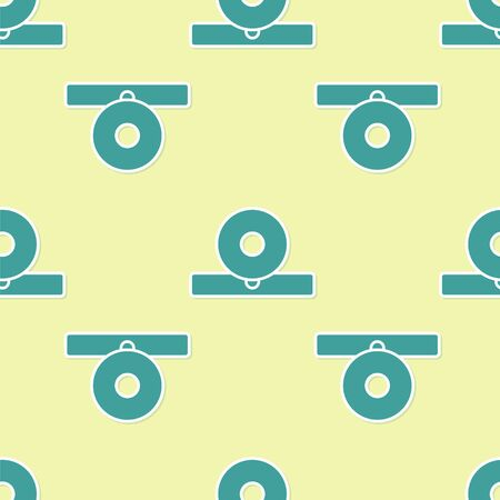 Green Otolaryngological head reflector icon isolated seamless pattern on yellow background. Equipment for inspection the patient's ear, throat and nose. Vector Illustration Vector Illustration