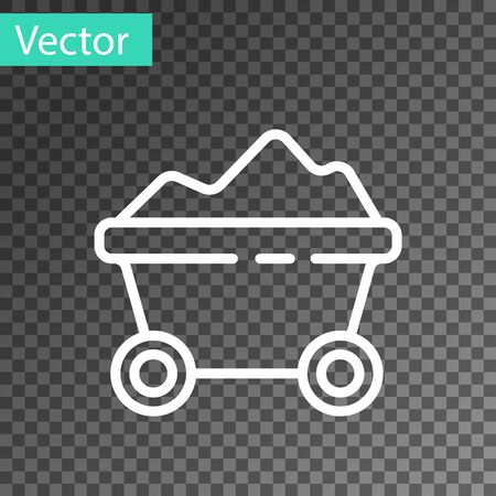White line Coal mine trolley icon isolated on transparent background. Factory coal mine trolley. Vector Illustration