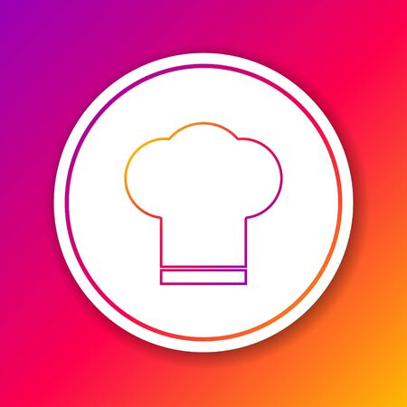 Color line Chef hat icon isolated on color background. Cooking symbol. Cooks hat. Circle white button. Vector Illustration