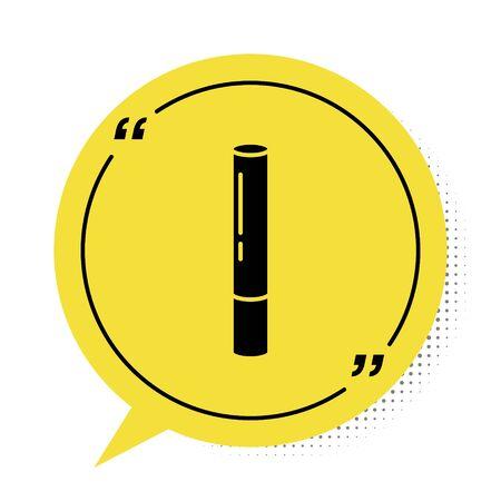 Black Marijuana joint, spliff icon isolated on white background. Cigarette with drug, marijuana cigarette rolled. Yellow speech bubble symbol. Vector Illustration