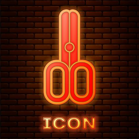 Glowing neon Scissors hairdresser icon isolated on brick wall background. Hairdresser, fashion salon and barber sign. Barbershop symbol. Vector Illustration