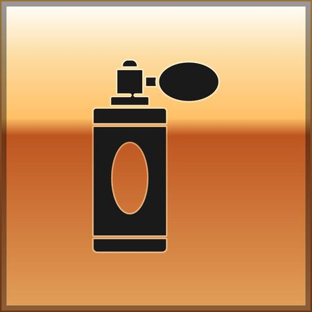 Black Aftershave bottle with atomizer icon isolated on gold background. Cologne spray icon. Male perfume bottle. Vector Illustration