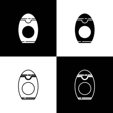 Set Bottle of shampoo icon isolated on black and white background. Vector Illustration