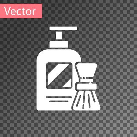 White Shaving gel foam and brush icon isolated on transparent background. Shaving cream. Vector Illustration Иллюстрация