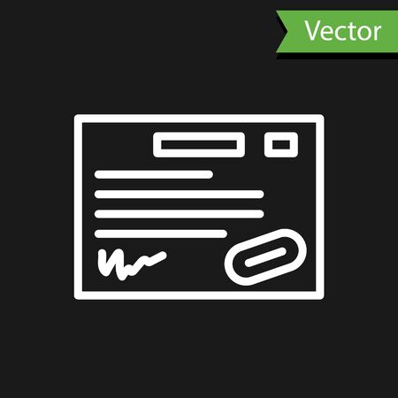 White line Warranty certificate template icon isolated on black background. Vector Illustration