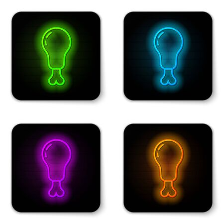 Glowing neon line Chicken leg icon isolated on white background. Chicken drumstick. Black square button. Vector Illusztráció