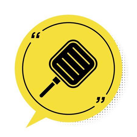 Black Frying pan icon isolated on white background. Fry or roast food symbol. Yellow speech bubble symbol. Vector Illustration Illusztráció