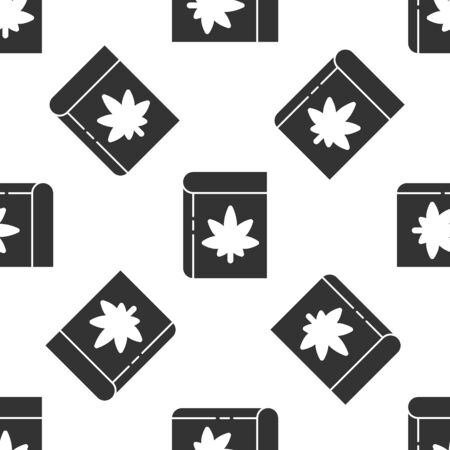 Grey Book and marijuana or cannabis leaf icon isolated seamless pattern on white background. Hemp symbol. Vector Illustration Illustration