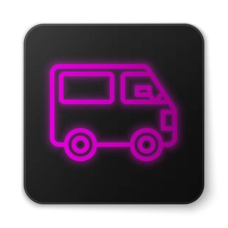 Glowing neon line Delivery cargo truck vehicle icon isolated on white background. Black square button. Vector Illustration Stockfoto - 147042009