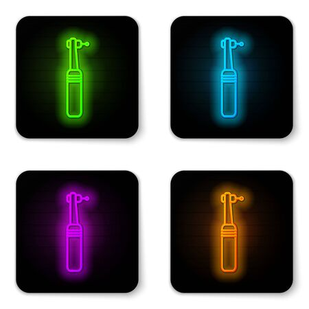 Glowing neon line Tooth drill icon isolated on white background. Dental handpiece for drilling and grinding tools. Medical instrument. Black square button. Vector Illustration
