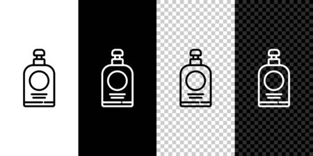Set line Hand sanitizer bottle icon isolated on black and white background. Disinfection concept. Washing gel. Alcohol bottle for hygiene. Vector