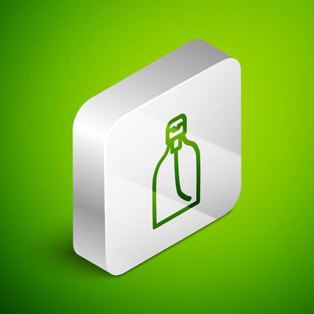 Isometric line Bottle of liquid antibacterial soap with dispenser icon isolated on green background. Disinfection, hygiene, skin care. Silver square button. Vector Иллюстрация