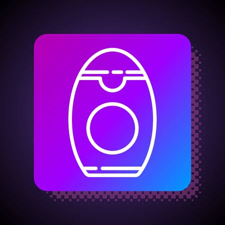 White line Bottle of shampoo icon isolated on black background. Square color button. Vector