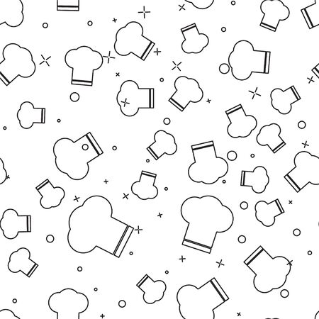 Black line Chef hat icon isolated seamless pattern on white background. Cooking symbol. Cooks hat. Vector Illusztráció