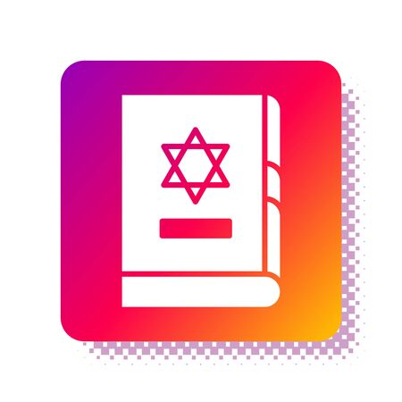 White Jewish torah book icon isolated on white background. On the cover of the Bible is the image of the Star of David. Square color button. Vector