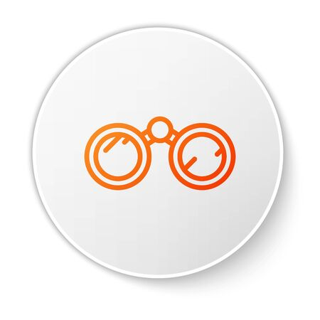Orange line Binoculars icon isolated on white background. Find software sign. Spy equipment symbol. White circle button. Vector Ilustracja