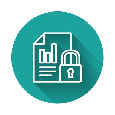 White line Document and lock icon isolated with long shadow. File format and padlock. Security, safety, protection concept. Green circle button. Vector Illustration