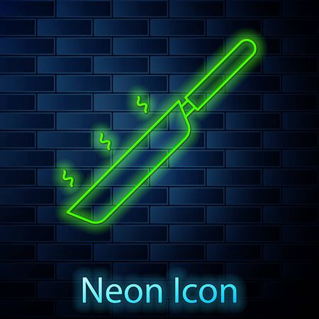 Glowing neon line Frying pan icon isolated on brick wall background. Fry or roast food symbol. Vector Illusztráció
