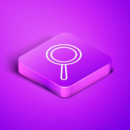 Isometric line Frying pan icon isolated on purple background. Fry or roast food symbol. Purple square button. Vector