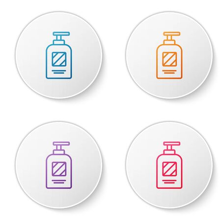 Color line Bottle of shampoo icon isolated on white background. Set icons in circle buttons. Vector