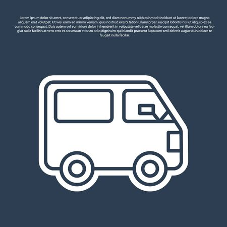 Blue line Delivery cargo truck vehicle icon isolated on blue background. Vector Illustration