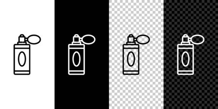 Set line Aftershave bottle with atomizer icon isolated on black and white background. Cologne spray icon. Male  bottle. Vector Illustration