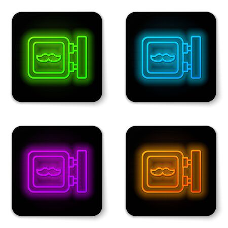 Glowing neon line Barbershop icon isolated on white background. Hairdresser  or signboard. Black square button. Vector Illustration