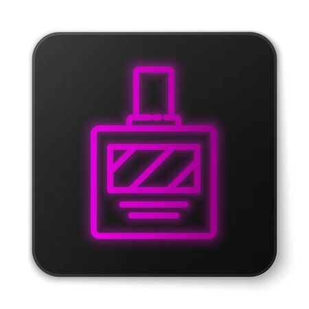Glowing neon line Aftershave icon isolated on white background. Cologne spray icon. Male  bottle. Black square button. Vector Illustration