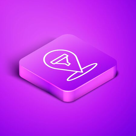 Isometric line Location with sales funnel icon isolated on purple background. Infographic template. Purple square button. Illustration Иллюстрация