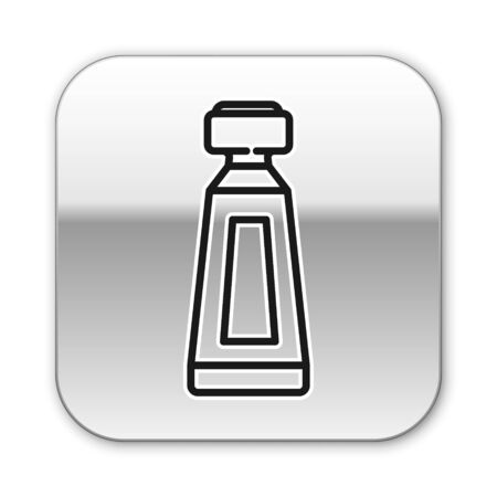 Black line Cream or lotion cosmetic tube icon isolated on white background. Body care products for men. Silver square button. Vector Illustration Иллюстрация