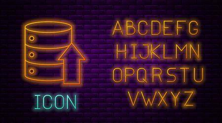 Glowing neon line Server, Data, Web Hosting icon isolated on brick wall background. Neon light alphabet. Vector Illustration Illustration