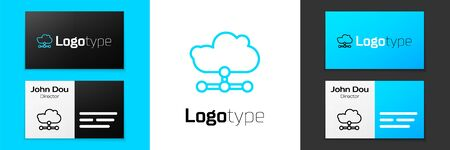 Grey line Network cloud connection icon isolated on white background. Social technology. Cloud computing concept. Vector Illustration Illustration