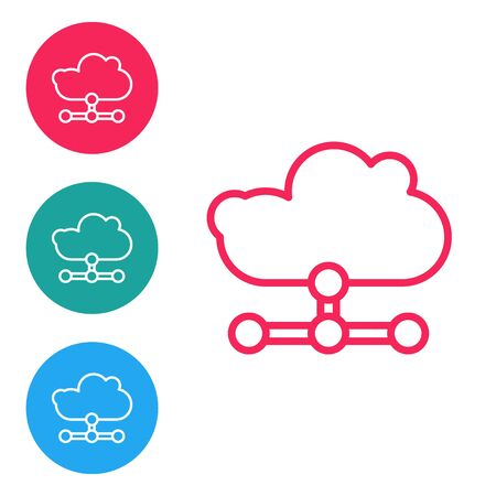 Red line Network cloud connection icon isolated on white background. Social technology. Cloud computing concept. Set icons in circle buttons. Vector Illustration Illustration
