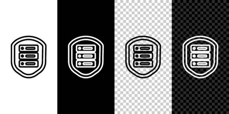 Set line Server with shield icon isolated on black and white background. Protection against attacks. Network firewall, router, switch, data. Vector Illustration