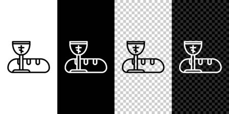 Set line First communion symbols for a nice invitation icon isolated on black and white background. Vector Illustration